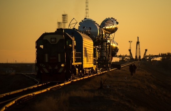 The Soyuz TMA-11M rocket is rolled out to the launch pad by train on Tuesday, Nov. 5, 2013, at the Baikonur Cosmodrome in Kazakhstan. Launch of the Soyuz rocket is scheduled for November 7 and will send Expedition 38 Soyuz Commander Mikhail Tyurin of Roscosmos, Flight Engineer Rick Mastracchio of NASA and Flight Engineer Koichi Wakata of the Japan Aerospace Exploration Agency on a six-month mission aboard the International Space Station. Photo Credit: (NASA/Bill Ingalls)