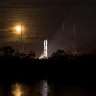 A full Moon rises behind the United Launch Alliance Atlas V rocket with NASA's Mars Atmosphere and Volatile Evolution (MAVEN) Photo Credit: (NASA/Bill Ingalls)