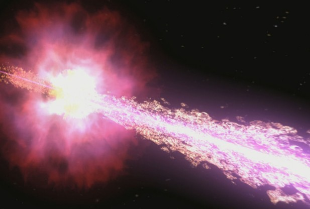 The jet from a Gamma-ray burst emerging at nearly lightspeed.  Credit: Credit: NASA/Swift/Cruz deWilde
