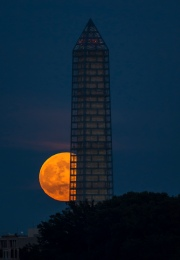 A supermoon rises behind the Washington Monument, Sunday, June 23, 2013, in Washington. This year the Supermoon is up to 13.5% larger and 30% brighter than a typical Full Moon is. This is a result of the Moon reaching its perigee - the closest that it gets to the Earth during the course of its orbit. During perigee on 23 June the Moon was about 221,824 miles away, as compared to the 252,581 miles away that it is at its furthest distance from the Earth (apogee). Photo Credit: (NASA/Bill Ingalls)
