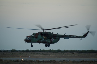 A Russian search and rescue helicopter departs the Zhezkazgan airport in Kazakhstan to support the landing of the Soyuz TMA-08M spacecraft with Expedition 36 Commander Pavel Vinogradov of the Russian Federal Space Agency (Roscosmos), Flight Engineer Alexander Misurkin of Roscosmos and Flight Engineer Chris Cassidy, Wednesday, Sept. 11, 2013. Vinogradov, Misurkin and Cassidy are returning to Earth after five and a half months on the International Space Station. Photo Credit: (NASA/Bill Ingalls)