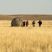 Russian search and rescue teams arrive just moments after the landing of the Soyuz TMA-08M spacecraft with Expedition 36 Commander Pavel Vinogradov of the Russian Federal Space Agency (Roscosmos), Flight Engineer Alexander Misurkin of Roscosmos and Flight Engineer Chris Cassidy of NASA aboard, in a remote area near the town of Zhezkazgan, Kazakhstan, on Wednesday, Sept. 11, 2013. Vinogradov, Misurkin and Cassidy returned to Earth after five and a half months on the International Space Station. Photo Credit: (NASA/Bill Ingalls)