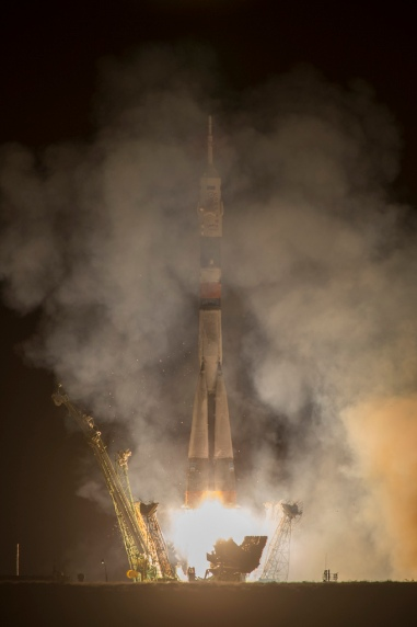 The Soyuz TMA-10M rocket launches from the Baikonur Cosmodrome in Kazakhstan on Thursday, Sept. 26, 2013 carrying Expedition 37 Soyuz Commander Oleg Kotov, NASA Flight Engineer Michael Hopkins and Russian Flight Engineer Sergei Ryazansky to the International Space Station. Their Soyuz rocket launched at 2:58 a.m. local time. Photo Credit: (NASA/Carla Cioffi)