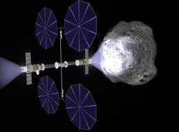 Near-Earth asteroid deflection mission based on Ad Astra's Viento solar electric propulsion spacecraft equipped with VF-200-class VASIMR engines. Credit: Ad Astra