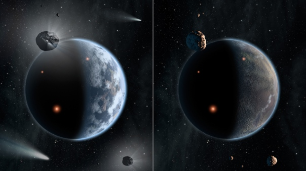This artist's concept illustrates the fate of two different planets: the one on the left is similar to Earth, made up largely of silicate-based rocks with oceans coating its surface. The one on the right is rich in carbon—and dry. Chances are low that life as we know it, which requires liquid water, would thrive under such barren conditions. New theoretical findings show that planetary systems with carbon-rich stars would host waterless rocky planets. On Earth, it is believed that icy asteroids and comets are the main suppliers of Earth's ocean. But, in star systems rich in carbon, the carbon would snag up oxygen to make carbon monoxide, leaving little oxygen to make water ice. In those systems, the asteroids and comets would be dry. The most extreme carbon-rich stars, with much more carbon than our sun, are thought to create carbon-based planets, as depicted in this illustration. Those planets would lack oceans due to a lack of icy asteroids and comets serving as water reservoirs. Credit: NASA/JPL-Caltech