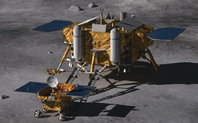 The Chang'e 3 lunar lander and moon rover Credit: Beijing Institute of Spacecraft System Engineering