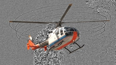 DLR researchers first to make causes of helicopter noise visible Image via dlr.de