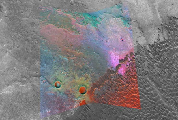 "Image Caption: NASA's Mars Reconnaissance Orbiter is providing new spectral ""windows"" into the diversity of Martian surface materials. Here in a volcanic caldera, bright magenta outcrops have a distinctive feldspar-rich composition. Credit: NASA/JPL/JHUAPL/MSSS"