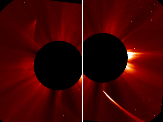 Another view from SOHO's C2 chronograph shows Comet ISON appearing bright as it streams toward the sun (right).  Image Credit: ESA/NASA/SOHO/Jhelioviewer