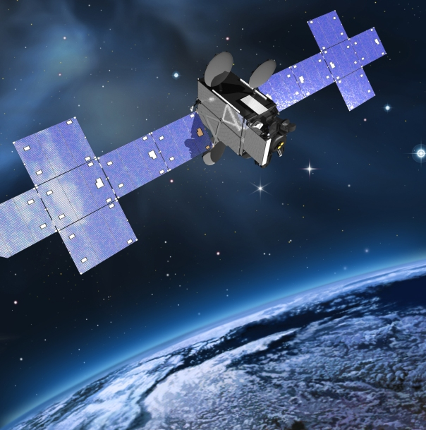 This is an artist rendering of the Laser Communications Relay Demonstration hosted aboard a Space Systems Loral commercial communications satellite.  Credit: Space Systems/Loral